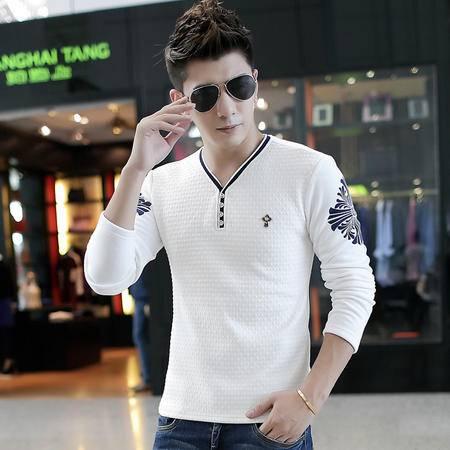 朗欣V领拼色修身型加绒加厚潮衣服男冬款长袖T恤S-T3310