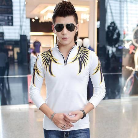 朗欣拼色男装韩版潮流男士长袖修身型薄款潮流时尚衣服男长袖中国风长袖T恤S-T9903
