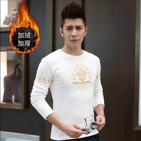 朗欣男士加绒加厚长袖修身型潮流时尚衣服男长袖T恤S-T9266