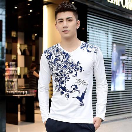朗欣长袖修身型薄款潮流时尚衣服男长袖中国风长袖T恤S-T3502