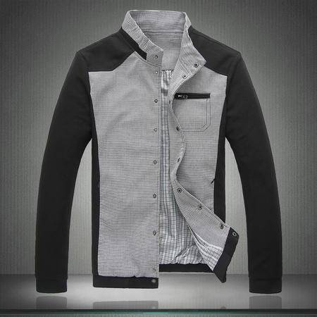 朗欣拼色撞色水洗夹克时尚干练男青年韩版潮流千鸟格立领修身夹克外套潮S-J1801