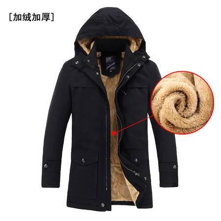 朗欣男士修身立领可卸帽加绒加厚夹克 男士时尚干练 舒适耐磨男装S-J6603