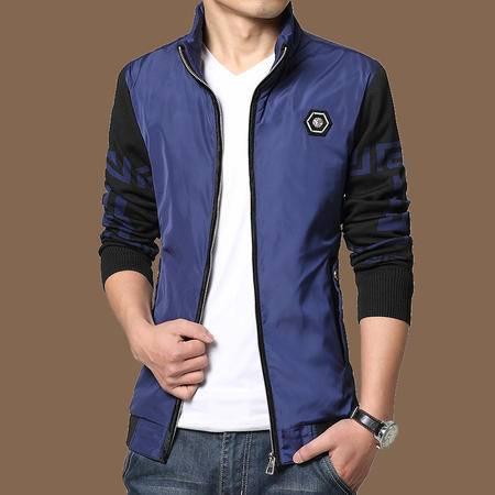 朗欣修身立领加绒加厚夹克外套简约时尚 阳光帅气 撞色拼色拉链夹克外套S-J5501