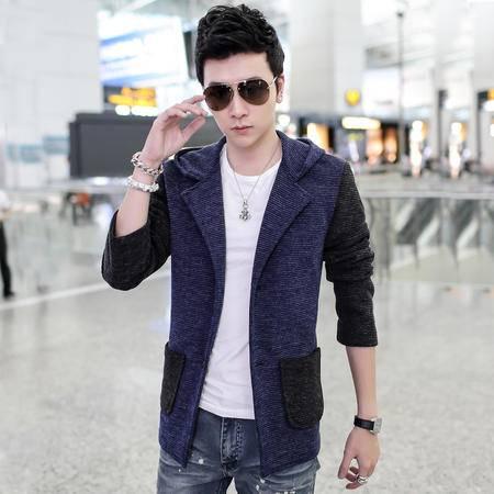 朗欣男士单排扣口袋外套休闲撞色拼色连帽夹克男士开衫夹克外套修身长袖潮S-J8706