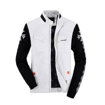 朗欣撞色水洗夹克时尚干练男青年韩版潮流拉链修身夹克外套潮S-J5801