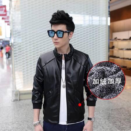 朗欣夹克男韩版薄款外套长袖修身纯色外穿秋冬季休闲潮士立领皮衣S-P170720