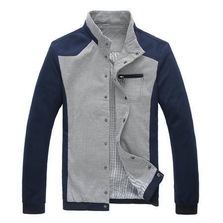 朗欣新款秋季男式休闲夹克 男薄款青年夹克拼色立领男士外套爆款