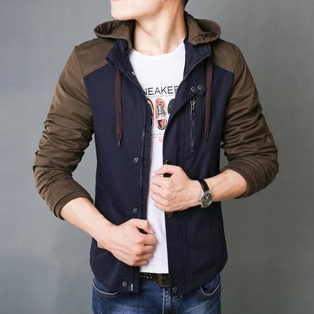朗欣秋季新款简约时尚拼色水洗夹克立领连帽拉链男青年韩版潮流单排扣纯棉修身夹克外套