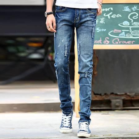 朗欣新款时尚个性破洞青春流行直筒修身男士牛仔裤休闲透气牛仔长裤四季可穿9602