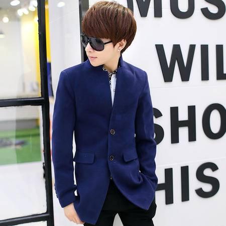 朗欣秋冬新款毛呢外套韩版男士简约潮流时尚修身立领单排扣个性口袋青年呢子外套