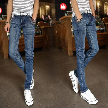 朗欣新款时尚直筒修身型男士牛仔裤 个性口袋 休闲舒适透气耐磨牛仔长裤9019