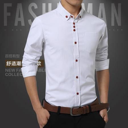 郎欣男式长袖衬衫修身韩版职业商务免烫男士斜纹衬衣BK1318