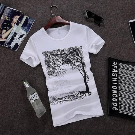 朗欣 男装品牌圆领夏季休闲纯棉休闲印花半袖t恤S-1007