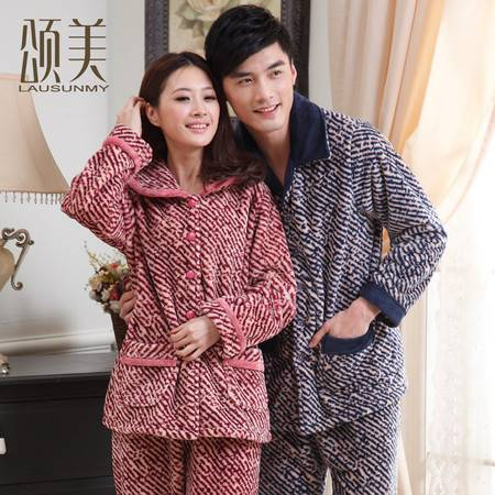 颂美冬季珊瑚绒情侣睡衣加厚法兰绒女男加大码长袖保暖家居服套装