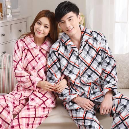 颂美秋冬季珊瑚绒情侣睡衣加厚法兰绒男女长袖条纹保暖家居服套装