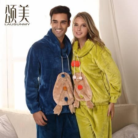 新品首发 颂美秋冬加厚珊瑚绒情侣睡衣男女长袖卡通家居服套装