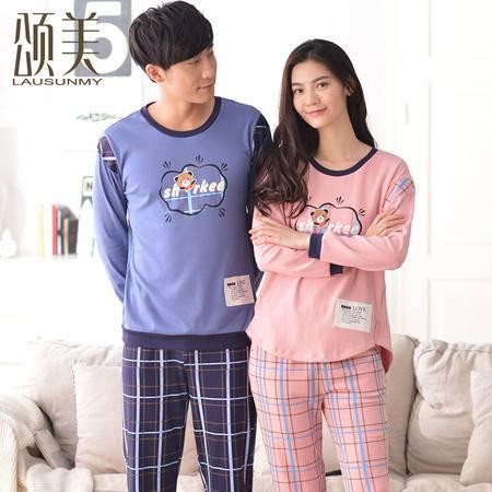情侣睡衣夏季纯棉长袖春秋季男女套装颂美韩版卡通可爱外穿家居服