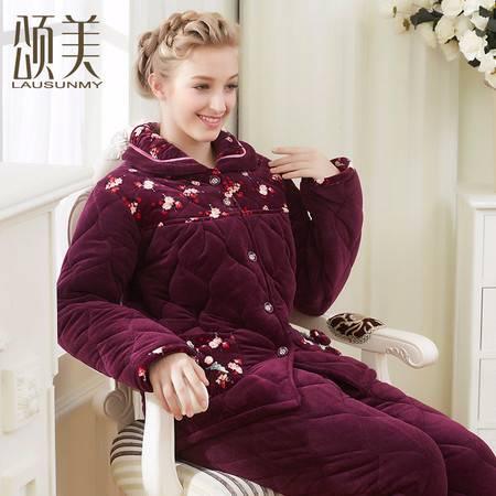 颂美冬季新品中老年睡衣女加厚贝贝绒夹棉保暖长袖妈妈家居服套装