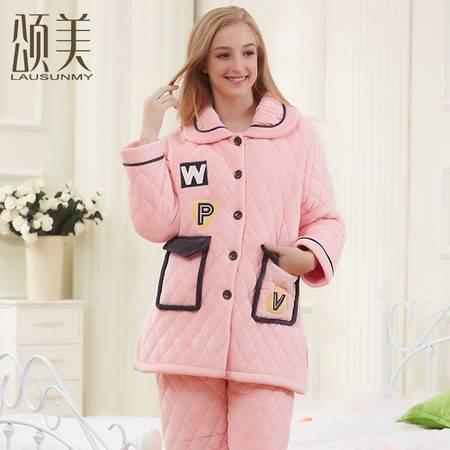 2016冬季新品颂美睡衣加厚贝贝绒三层夹棉保暖卡通女士家居服套装