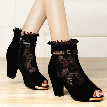 古奇天伦新款女鞋水钻凉鞋女高跟鞋粗跟防水台蕾丝鱼嘴鞋单鞋7937