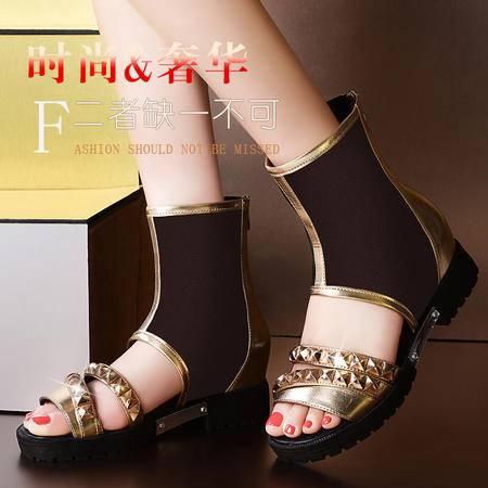 莱卡金顿2014春夏新款女鞋透气平底平跟鞋高帮韩版网纱透气凉鞋铆钉鞋LK-A8639