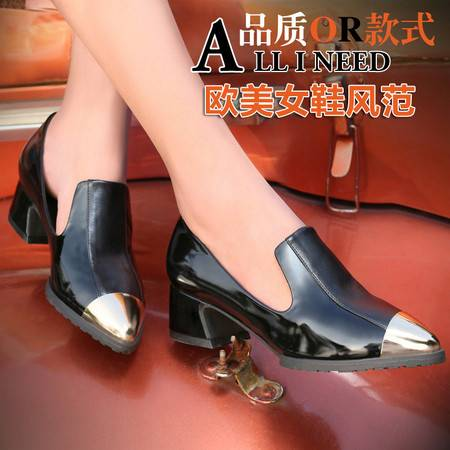 莱卡金顿春秋英伦复古女鞋低帮鞋浅口金属尖头粗跟矮跟女单鞋LK-A8941
