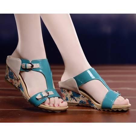 莱卡金顿夏季坡跟凉拖女高跟凉鞋时尚防水台凉拖鞋女单鞋078-2