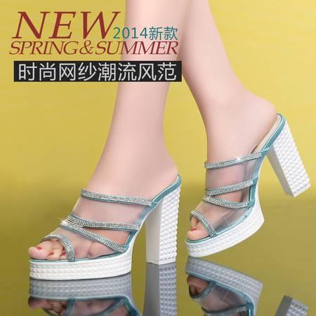 莱卡金顿夏季新款韩版网纱透气粗跟凉拖高跟凉鞋防水台拖鞋女鞋LK-A1515
