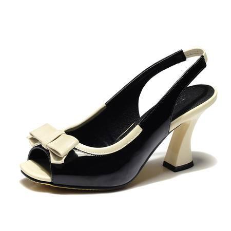 莱卡金顿夏季鱼嘴凉鞋女鞋优雅高跟粗跟凉鞋蝴蝶结女式单鞋633-3