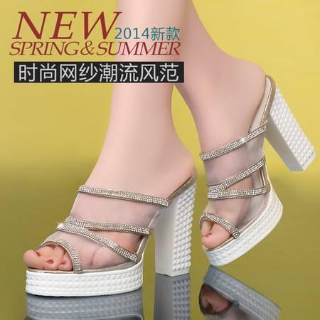 莱卡金顿2014夏季新款韩版网纱透气粗跟凉拖高跟凉鞋防水台拖鞋女鞋LK-A1515