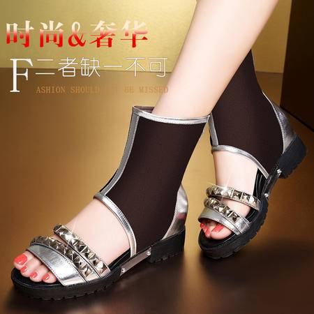 莱卡金顿春夏新款女鞋透气平底平跟鞋高帮韩版网纱透气凉鞋铆钉鞋LK-A8639