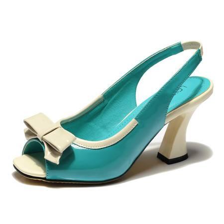 莱卡金顿2014夏季鱼嘴凉鞋女鞋优雅高跟粗跟凉鞋蝴蝶结女式单鞋633-3