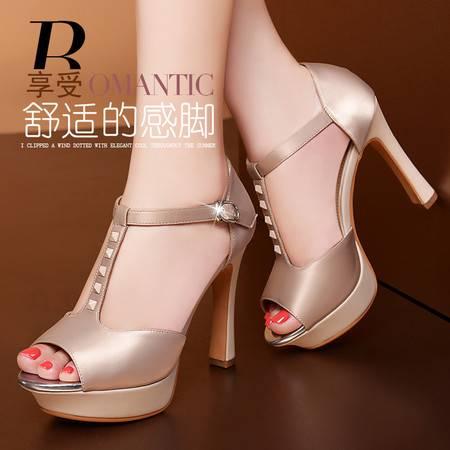 莱卡金顿2014春夏新款甜美高跟时装女鞋鱼嘴鞋防水台粗跟包跟女凉鞋LK-A3036