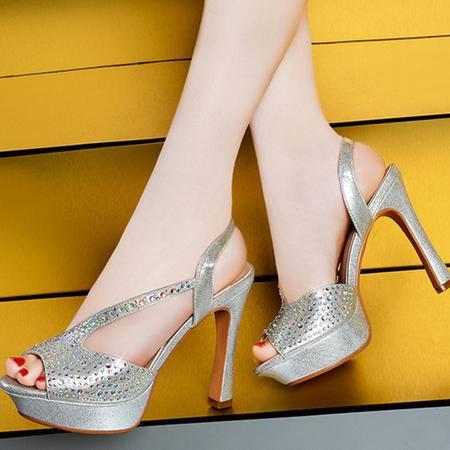 莱卡金顿夏季时装凉鞋水钻鱼嘴鞋时尚细跟高跟鞋防水台女鞋LK-A1523