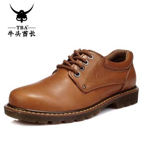 牛头酋长TBA流行商务大头皮鞋英伦男士板鞋子休闲鞋真皮男工装鞋8065