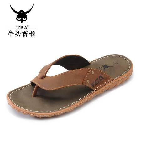 牛头酋长TBA夏季男鞋夹脚牛筋底拖鞋潮流凉拖牛皮人字拖鞋沙滩鞋休闲鞋5931