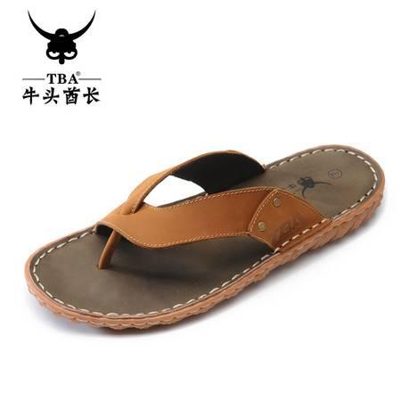 牛头酋长TBA男鞋夹脚牛筋底拖鞋潮流夏季凉拖牛皮人字拖鞋沙滩鞋休闲鞋5931