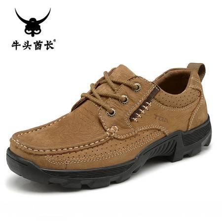 牛头酋长TBA春季男士日常休闲鞋低帮磨砂牛皮潮流男鞋真皮单鞋系带皮鞋登山鞋5875