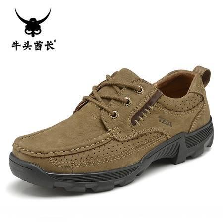 牛头酋长TBA春季男士日常休闲鞋低帮磨砂牛皮潮流男鞋真皮单鞋系带皮鞋5875