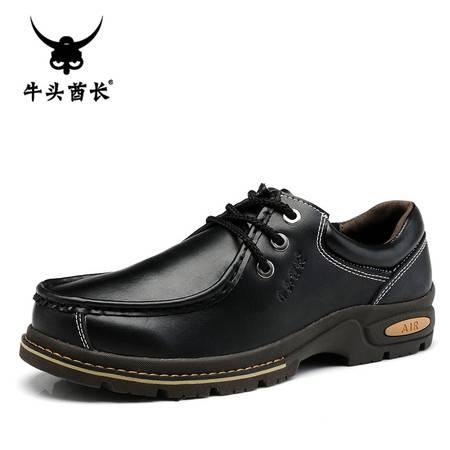 TBA男鞋韩版大头工装鞋潮鞋低帮厚底男士真皮皮鞋系带休闲鞋子5871