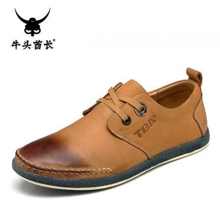 牛头酋长TBA新款英伦头层皮男士板鞋低帮系带休闲鞋真皮男鞋子5825
