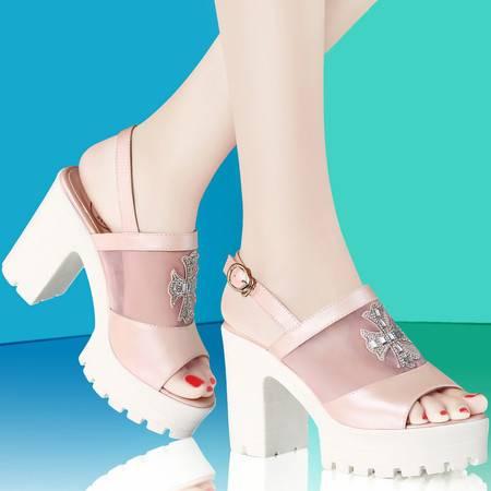 古奇天伦夏季网纱女单鞋粗跟女鞋厚底防水台鱼嘴鞋方跟高跟女凉鞋8008