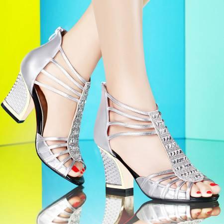古奇天伦夏季欧美时尚凉鞋罗马高跟鞋女粗跟包跟鱼嘴女鞋女鞋8010