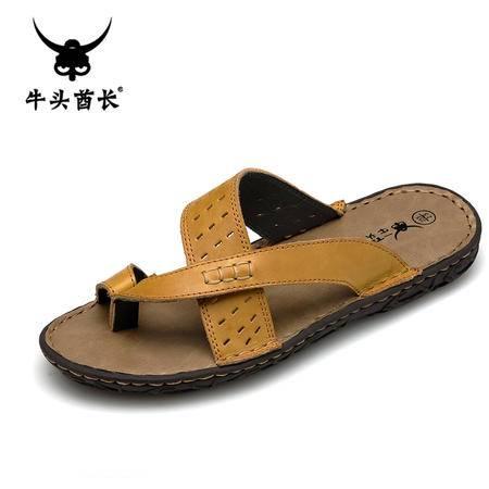 牛头酋长夏季拖鞋休闲沙滩鞋真皮凉拖懒人夹脚人字拖男凉鞋潮鞋子5968