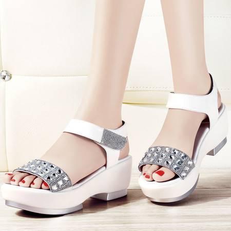 古奇天伦夏季女凉鞋厚底中跟防水台坡跟松糕鞋波西米亚水钻女鞋8004