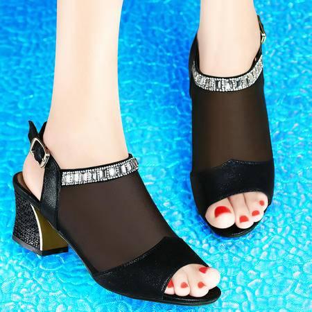 古奇天伦夏季新款网纱水钻甜美透气凉鞋粗跟高跟鱼嘴女鞋凉鞋子8025