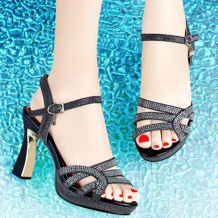 古奇天伦休闲高跟鞋8003夏季新款粗跟水钻凉鞋女鱼嘴鞋防水台女鞋