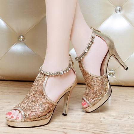 莱卡金顿夏季新款蕾丝网纱透气女凉鞋细跟高跟鞋水钻亮片防水台女鞋LK-A1525
