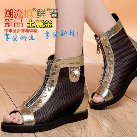 盾狐夏季新款平跟女鞋欧美网面透气鞋内增高鱼嘴鞋铆钉凉鞋605