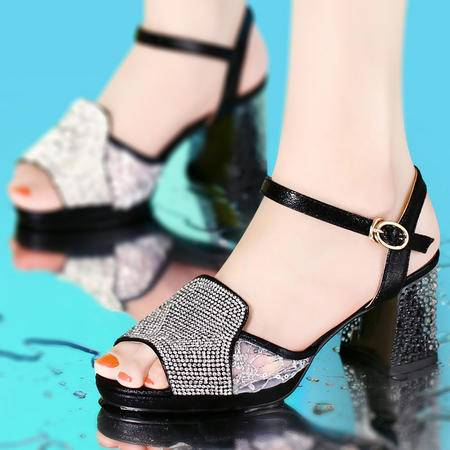 古奇天伦2014夏季新款水晶跟女鞋粗跟水钻防水台高跟鞋方跟鱼嘴鞋网纱透气女凉鞋8030